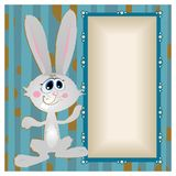 Bunny, big-eyed rabbit with long ears. Funny Bunny in the background with frame for recording stock illustration