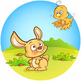 Bunny and Bird Stock Image