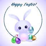 Easter rubbit with eggs easter card vector illustration