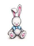 A bunny with blue ribbon Stock Photos