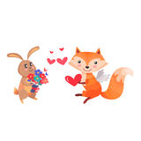 Bunny with Bouquet of Flowers and Fox with Wings. Lovely rabbit and sexy vixen with bushy tail. Bunny with bouquet of flowers and fox with angel wings holding Stock Image