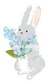 Bunny with a bouquet of forget-me-not flowers Royalty Free Stock Image