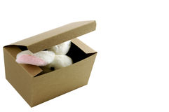 Bunny in box. Plain gift box with a bunny inside peeking out Royalty Free Stock Image