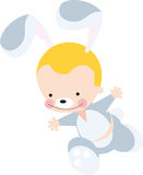 Bunny Boy. A boy who wears a bunny costume is running vector illustration