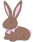 Bunny brown. Cuddly brown bunny with a pink bow stock illustration
