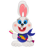 Bunny brushing teeth illustration Stock Photo