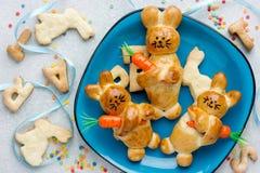 Bunny buns on blue plate, Easter baking idea