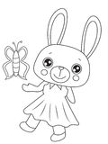 Bunny with a butterfly coloring page Stock Images