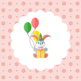 Bunny in cap with balloons and gift. Flat vector illustration on floral pattern. Can be used for design greeting card, invitation or banner. All the elements Stock Images
