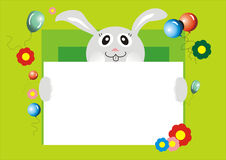 Bunny with card. Bunny with flowers and breathalyzers is keeping a card Royalty Free Stock Photo