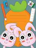 Bunny Carrot School Card_eps Royalty Free Stock Photos