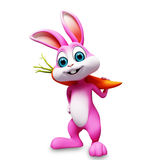 Bunny with carrot on shoulder. 3d rendered illustration of bunny with carrot on shoulder Royalty Free Stock Photography