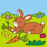Bunny and carrot Stock Image