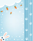 Bunny and carrots winter card Stock Images