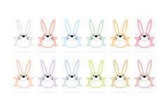 12 bunny cartoon animal character. S on white background design for easter and card Vector Illustration