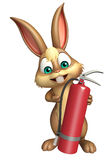 Bunny cartoon character with fire extinguisher. 3d rendered illustration of Bunny cartoon character with fire extinguisher Royalty Free Stock Photos