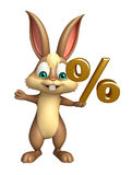 Bunny cartoon character with percentage sign Stock Image