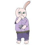 Bunny cartoon with a flower Stock Photos