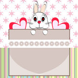 Bunny cartoon and frame card vector design Royalty Free Stock Images
