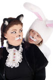 Bunny and cat Stock Photos