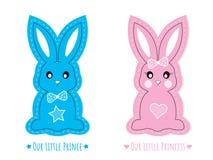 Bunny Character lindo azul y rosado, vector aislado en el fondo, los caracteres muchacho del conejo y la muchacha blancos stock de ilustración