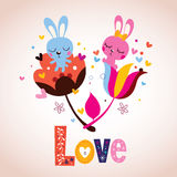 Bunny characters in love Royalty Free Stock Photography