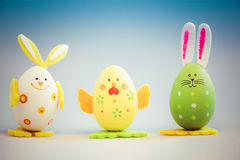 Bunny and chicken shaped painted easter eggs Royalty Free Stock Images