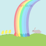 Bunny, chickens, eggs and rainbow Royalty Free Stock Images