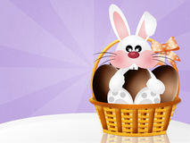 Bunny with chocolate eggs Stock Images