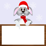 Bunny in a Christmas cap Royalty Free Stock Image