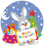 Bunny with Christmas card Royalty Free Stock Images