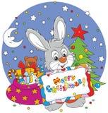 Bunny with Christmas card Stock Photo