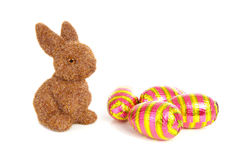 Bunny and colorful easter eggs Stock Photography