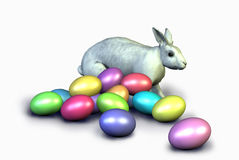 Bunny with Colorful Easter Eggs - includes clipping path stock photos