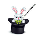 Bunny coming out of magician hat isolated Stock Images