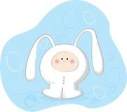 Bunny Costume. Vector Illustration; cartoon child in a bunny costum Royalty Free Stock Photo