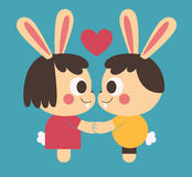 Bunny Couple Holding Hands. Vector illustration of a cartoon bunny couple looking at each other eyes, holding hands next to a floating heart symbol Stock Photo
