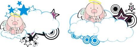 Bunny cute baby plush angel cartoon cloud Royalty Free Stock Images