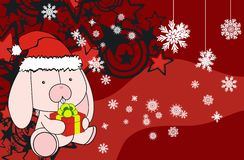 Bunny cute cartoon xmas claus costume background Stock Photo