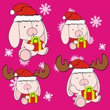 Bunny cute cartoon xmas claus costume set Stock Images