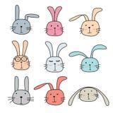 Bunny Cute Characters Set dibujado mano Imagen de archivo