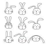 Bunny Cute Characters Set tiré par la main Images stock