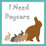 Bunny daycare. Rabbit family brown bunnies in blue frame illustration royalty free illustration