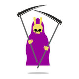 Bunny death purple cloak and Scythe. Grim Reaper  with  rabbit S Stock Image