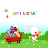 Bunny Delivering Easter Eggs Royaltyfri Bild