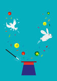 Bunny, Dove and Balls appear from an empty hat. Magic concept. Editable Clip Art. Fun graphic design of a magician's empty hat wth objects springing up through Stock Image