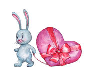 Bunny dragging heart tied with a ribbon. Watercolor illustration Stock Photography