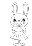 Bunny with a dress coloring page Royalty Free Stock Photo
