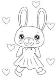 Bunny in a dress coloring page Royalty Free Stock Images