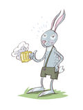 Bunny Drinking Beer stock illustratie
